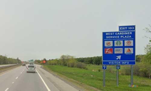 me interstate 95 maine i95 west gardiner service plaza rest area mile marker 103 southbound off ramp exit